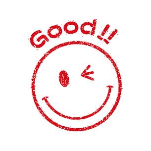 スタンプ風スマイルマーク イラストアイコン (Good!!)のイラスト素材 [FYI04732884]