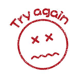 スタンプ風スマイルマーク イラストアイコン (Try again)のイラスト素材 [FYI04732899]