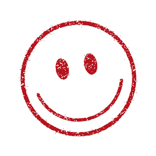 スタンプ風スマイルマーク イラストアイコン (スマイル/笑顔)のイラスト素材 [FYI04732906]
