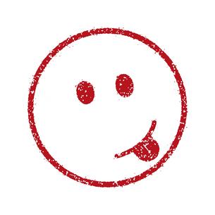 スタンプ風スマイルマーク イラストアイコン (アッカンベー/いたずら顔)のイラスト素材 [FYI04732914]