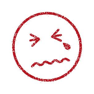 スタンプ風スマイルマーク イラストアイコン (悲しい/泣き顔)のイラスト素材 [FYI04732915]