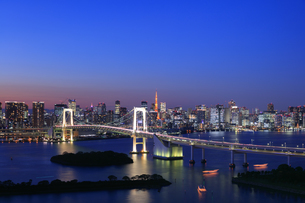 レインボーブリッジと東京タワーの夜景の写真素材 [FYI04733297]