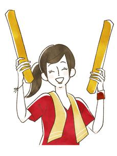 スポーツ観戦-応援する女性のイラスト素材 [FYI04733693]