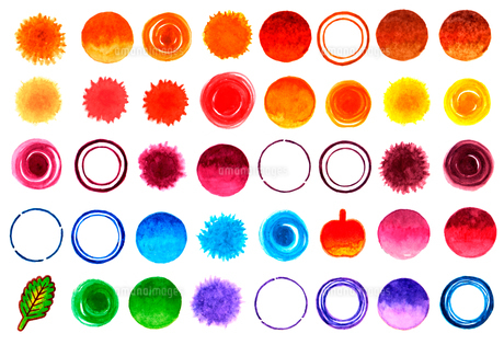 水彩で描いた水玉や円の素材イラスト【セット】のイラスト素材 [FYI04734357]