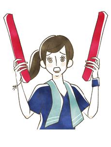 スポーツ観戦-応援する女性のイラスト素材 [FYI04734362]