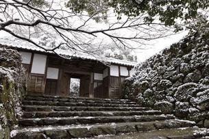秋月城跡黒門の雪景色の写真素材 [FYI04734563]