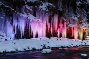 三十槌の氷柱のライトアップの写真素材 [FYI04734675]