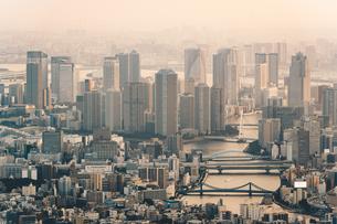 夕暮れの東京湾岸のマンション群の写真素材 [FYI04734755]