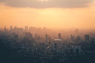 夕暮れの東京都心のビル群の写真素材 [FYI04734776]