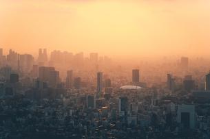 夕暮れの東京都心のビル群の写真素材 [FYI04734779]