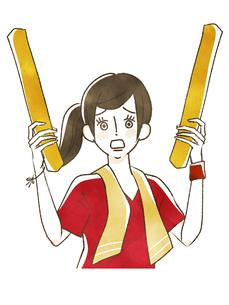 スポーツ観戦-応援する女性のイラスト素材 [FYI04735055]