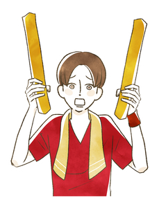 スポーツ観戦-応援する男性のイラスト素材 [FYI04735056]