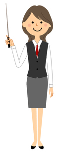 指し棒を持つ制服姿の女性 のイラスト素材 [FYI04735414]