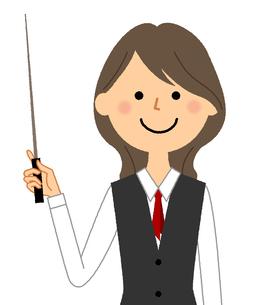 指し棒を持つ制服姿の女性 のイラスト素材 [FYI04735439]