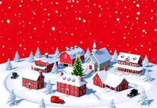 クリスマスの町 赤 雪空 昼のイラスト素材 [FYI04735535]