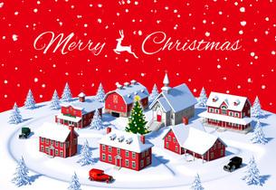 クリスマスの町 昼 俯瞰 赤 メリークリスマスのイラスト素材 [FYI04735536]