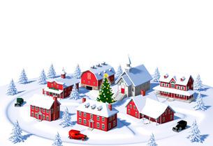 クリスマスの町 昼 俯瞰 白バックのイラスト素材 [FYI04735537]