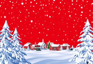 クリスマスの町 昼 赤 遠景 雪空のイラスト素材 [FYI04735538]