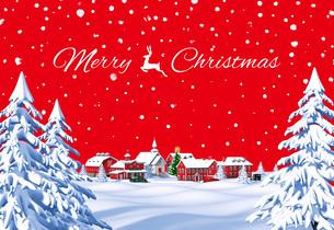 クリスマスの町 昼 赤 遠景 メリークリスマスのイラスト素材 [FYI04735539]