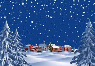 クリスマスの町 夜 雪空 遠景のイラスト素材 [FYI04735541]