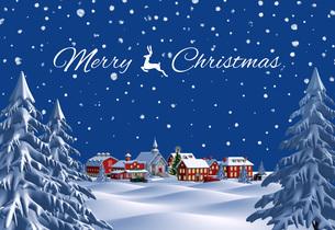 クリスマスの町 夜 雪空 遠景 メリークリスマスのイラスト素材 [FYI04735542]