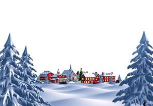 クリスマスの町 夜 白バック 遠景のイラスト素材 [FYI04735543]