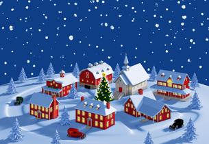 クリスマスの町 夜 雪空のイラスト素材 [FYI04735544]