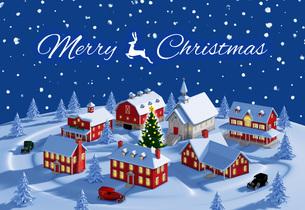 クリスマスの町 夜 雪空 メリークリスマスのイラスト素材 [FYI04735545]