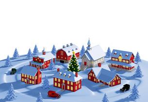 クリスマスの町 夜 白バックのイラスト素材 [FYI04735546]