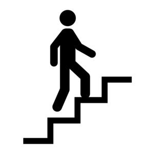 階段を上る人のアイコンのイラスト素材 [FYI04735836]
