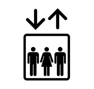 男女のマークとエレベーターのアイコンのイラスト素材 [FYI04735845]