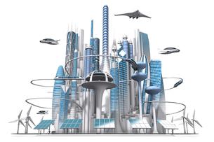 水平正面から見た青と白の未来都市の3dcgのイラスト素材 [FYI04736319]