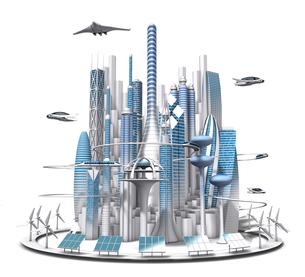 正面から見た青と白の未来都市の3dcgのイラスト素材 [FYI04736320]