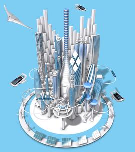 俯瞰から見た青と白の未来都市の3dcgのイラスト素材 [FYI04736321]