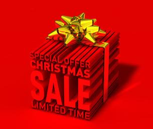 クリスマスセールの立体文字を金色のリボンで包んだ3dcgのイラストのイラスト素材 [FYI04736322]