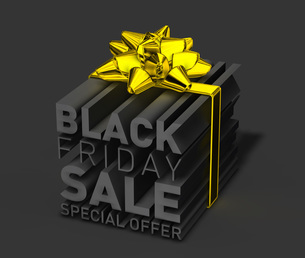 ブラックマンデーセールの立体文字を金色のリボンで包んだ3dcgのイラストのイラスト素材 [FYI04736324]