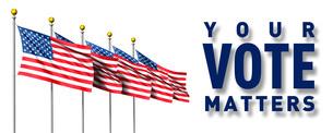 5本の星条旗とvoteのイラスト素材 [FYI04736381]