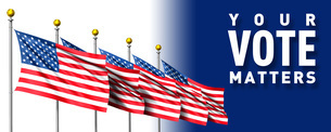 5本の星条旗とvote_2のイラスト素材 [FYI04736382]