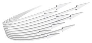 帯状の矢印がターンして向かってくる白いバックグラウンドのイラスト素材 [FYI04736387]