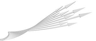帯状の矢印がねじれながら上昇する白いバックグラウンドのイラスト素材 [FYI04736389]
