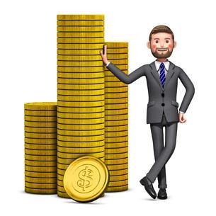 金貨に寄り掛かるビジネスマンのイラストのイラスト素材 [FYI04736541]