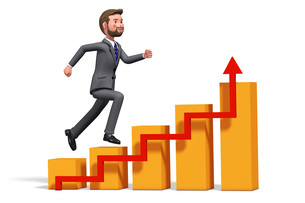 グラフを駆け上がるビジネスマンの3Dイラストのイラスト素材 [FYI04736542]