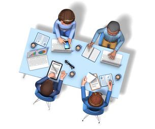 俯瞰から見た、4人の会議中のビジネスマンの3Dイラストのイラスト素材 [FYI04736544]