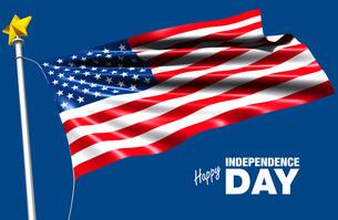 独立記念日を祝う青空にたなびく星条旗のイラストのイラスト素材 [FYI04736572]