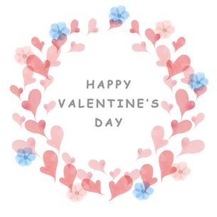 ハートと花のバレンタインフレームのイラスト素材 [FYI04736577]
