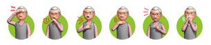 コロナウイルスに感染した老人の症状6種アイコンのイラスト素材 [FYI04736578]