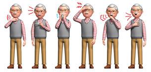 コロナウイルスに感染しただんせい老人の症状6種のイラスト素材 [FYI04736579]