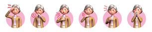 コロナウイルスに感染した老女の症状6種アイコンのイラスト素材 [FYI04736580]