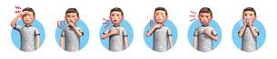 コロナウイルスに感染した男性の症状6種アイコンのイラスト素材 [FYI04736582]