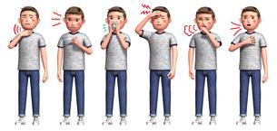 コロナウイルスに感染した男性の症状6種のイラスト素材 [FYI04736583]